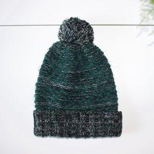 Express Green Turquoise Thick Knit Pom Pom Beanie